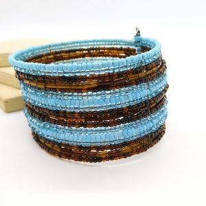 Blue Chocolate Brown Glass Bead Wrap Cuff Bracelet